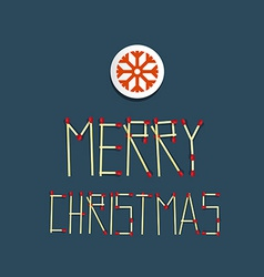 Merry Christmas Title Made From Matches With vector image vector image