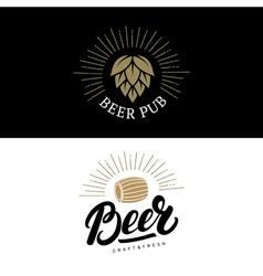 Set of beer hand written lettering logos labels vector image vector image