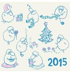 Set of sheeps vector image