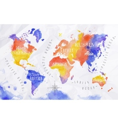 Watercolor world map red purple vector image vector image