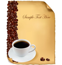 background menu with cup of coffee vector image vector image