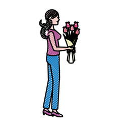 drawing mother woman flower bouquet celebration vector image