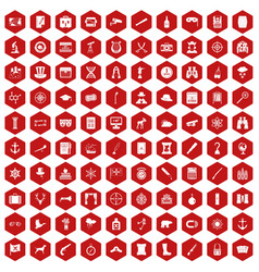 100 binoculars icons hexagon red vector