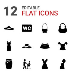 12 lady icons vector