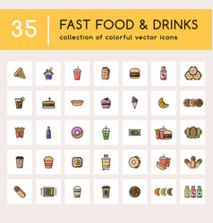35 fast food set with colorful icons vector image