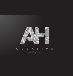 ah a h letter logo with zebra lines texture vector image