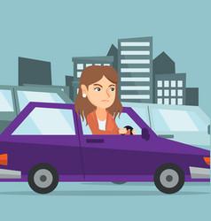 Angry caucasian woman in car stuck in traffic jam vector
