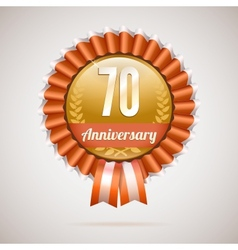 Anniversary golden badge with ribbons vector image
