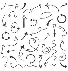 arrows set hand drawn vector image
