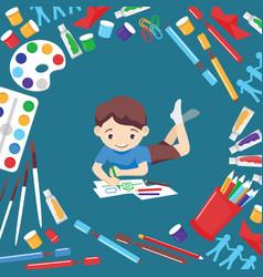art studio boy character studying in kids vector image