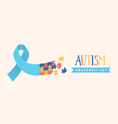 Autism awareness day puzzle ribbon game banner vector