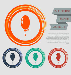 Balloon icon on red blue green orange buttons vector