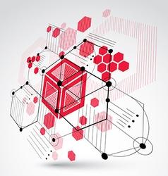 Bauhaus art 3d modular red wallpaper made using vector