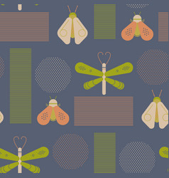 Bee and dragonfly geometric pattern vector