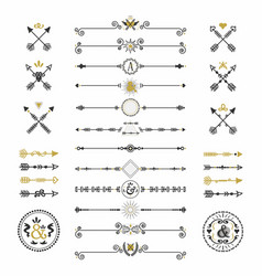 black and golden modern retro hand drawn arrows vector image