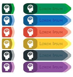 Brain icon sign Set of colorful bright long vector