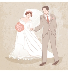 bride and groom on grungy background vector image