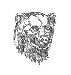 brown bear head doodle vector image