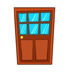 Brown wooden door with glass icon cartoon style vector image