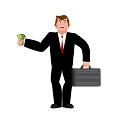 businessman and money buyer with suitcase vector image