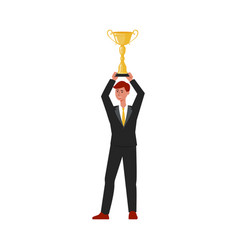 businessman holding an award trophy above head vector image