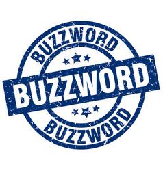 Buzzword blue round grunge stamp vector