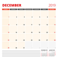 Calendar planner template for december 2019 week vector