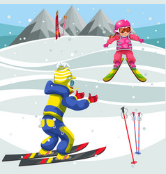 cartoon boy teaching girl how to ski vector image