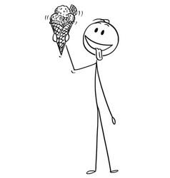 cartoon of man enjoying and holding big ice cream vector image