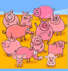 Cartoon pigs farm animal characters group vector