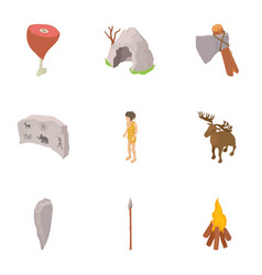 cave life icons set isometric style vector image