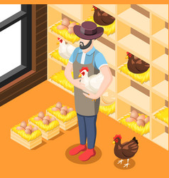 chicken coop isometric background vector image