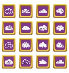 cloud icons set purple square vector image