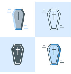 coffin icon set in flat and line styles vector image