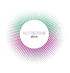 Color halftone dotted frame round gradient banner vector