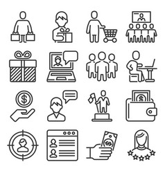 consumer and shopping people icons set on white vector image