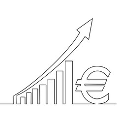 continuous line drawing euro rise concept profit vector image