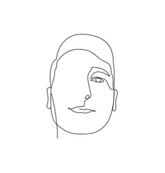 Continuous one line face man stock vector