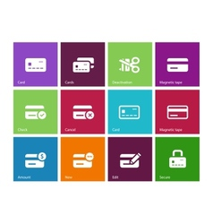 Credit card icons on color background vector image