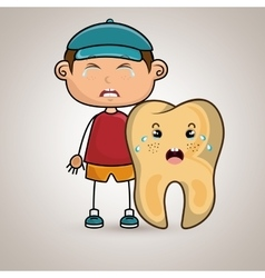 crying cartoon boy and tooth for a toothache vector image