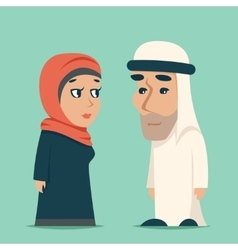 Cute Arab Male Female Family Cartoon Design vector image