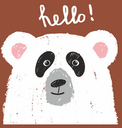 cute card with lovely white bear hello vector image