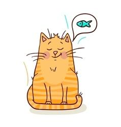 Cute red kitten vector