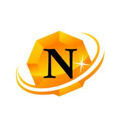 diamond swoosh initial n vector image