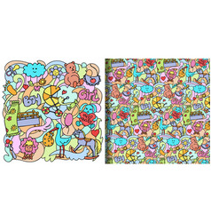Doodle baby colorful seamless print and pattern vector