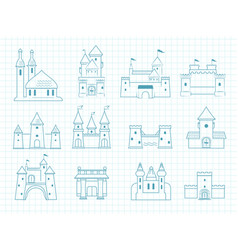 drawn castles gothic medieval royal architectural vector image