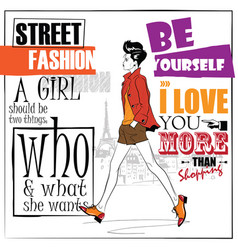 fashion girl in sketch-style with fashionable vector image