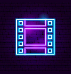 Film strip neon sign vector