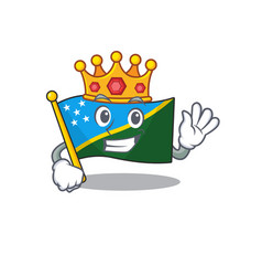 Flag solomon island scroll a stylized king on vector