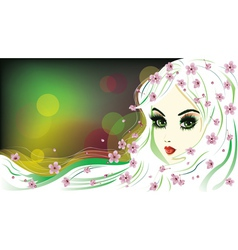 Floral Girl with White Hair4 vector image